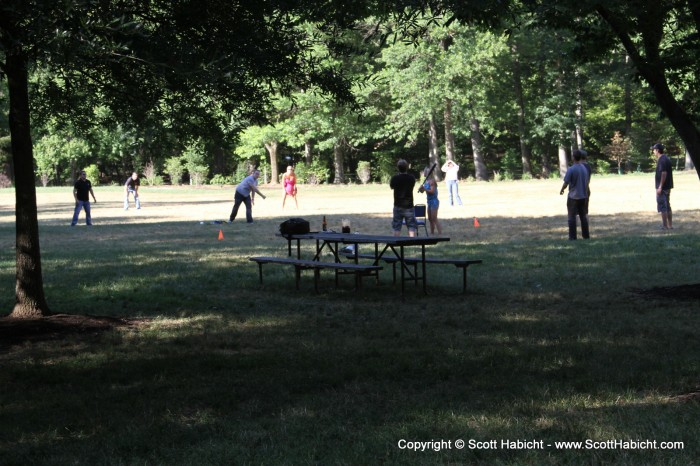 The rest of the band was enjoying a game of wiffle ball.