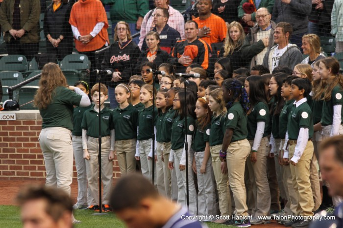 Ashley sang the national anthem at Camden Yards before an Orioles game with her singing group, The Station Singers.